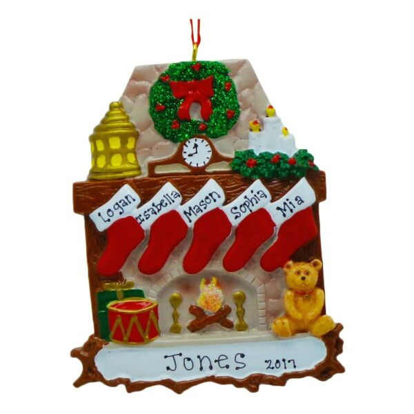 PERSONALIZED Fireplace Stockings Family of 5 Christmas Tree Ornament Gift