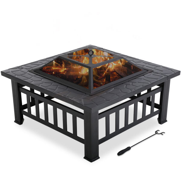 Outdoor fire pit for wood 32quot; Metal firepit with Charcoal RackPokeramp; Mesh Cover