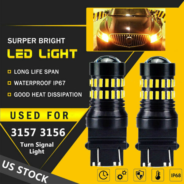A Pair of Amber LED 3157 3156 3457 for FORD Front Turn Signal Light Bulb 4157