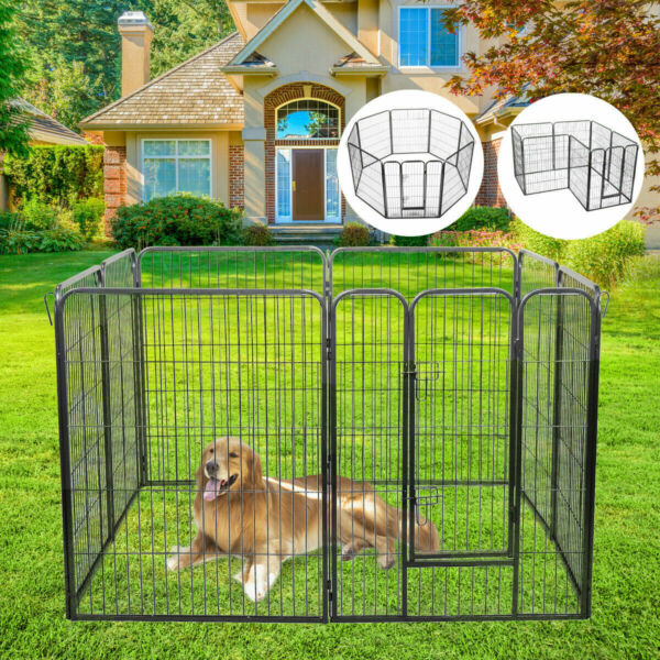 8Panel Heavy Duty Metal Cage Crate Pet Cat Dog Playpen Exercise Pen Fence Kennel