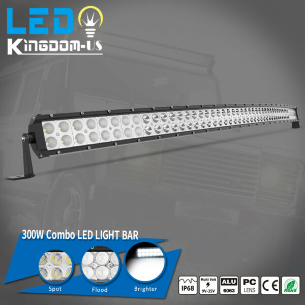 Offroad 52inch LED Work Light Bar Curved Flood Spot Combo Truck Roof Driving