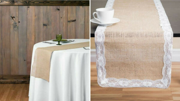 10 15 20 50 pc 13 x 108 in. Burlap Table Runner BasicLace Jute Wedding Decor