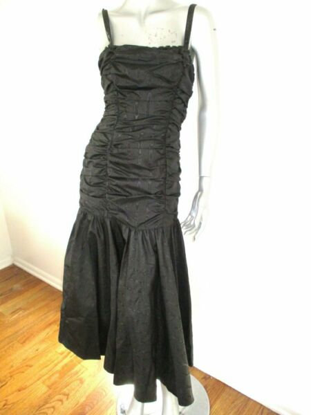 VTG 80#x27;S GUNNE SAX Black Ruched Mermaid Prom Cocktail Dress 7