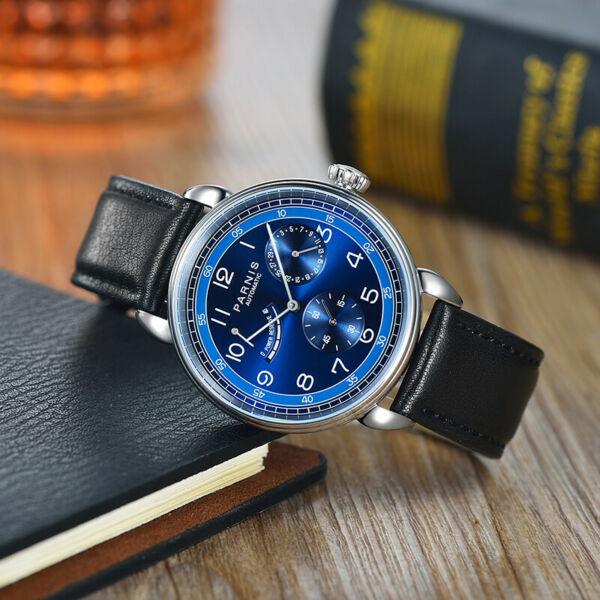 42mm Parnis Small Second Power Reserve Automatic Movement Men Watch Blue Dial