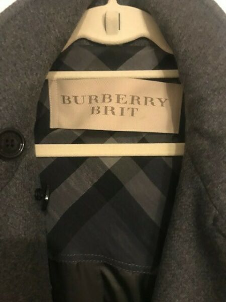 Burberry Brit Daylesmoore Wool Blend Trench: Sz 10 Dk Grey Excellent Condition