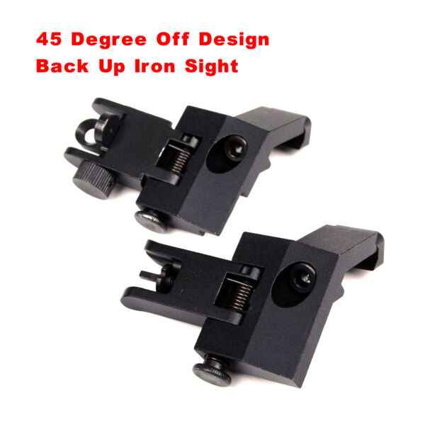 45Degree Offset Front Rear Backup Iron Sight Flip Up Rapid Transition rail mount