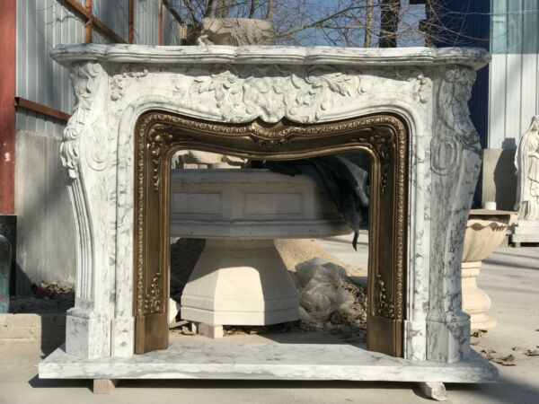 FRENCH STYLE HAND CARVED MARBLE FIREPLACE MANTEL WITH BRONZE INSERT - FSMB56