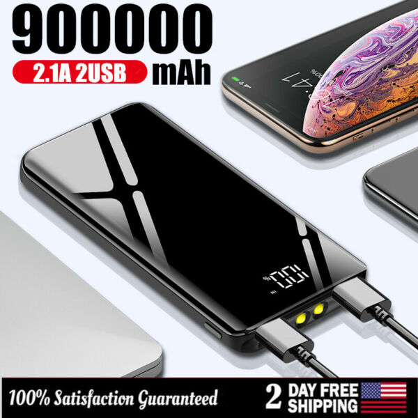 900000mAh Power Bank UltraThin Dual USB Portable External Battery Backup Charger