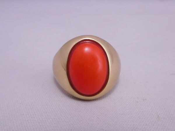 FANCY LARGE ANTIQUE 14K SOLID YELLOW GOLD RED ORANGE CORAL STONE RING $450.00