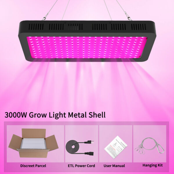 3000W LED Grow Light Full Spectrum Indoor Hydroponic Horticulture Growing Panel