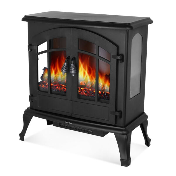 Electric Fireplace Heater 1500W Freestanding Stove with Realistic Burning Flame