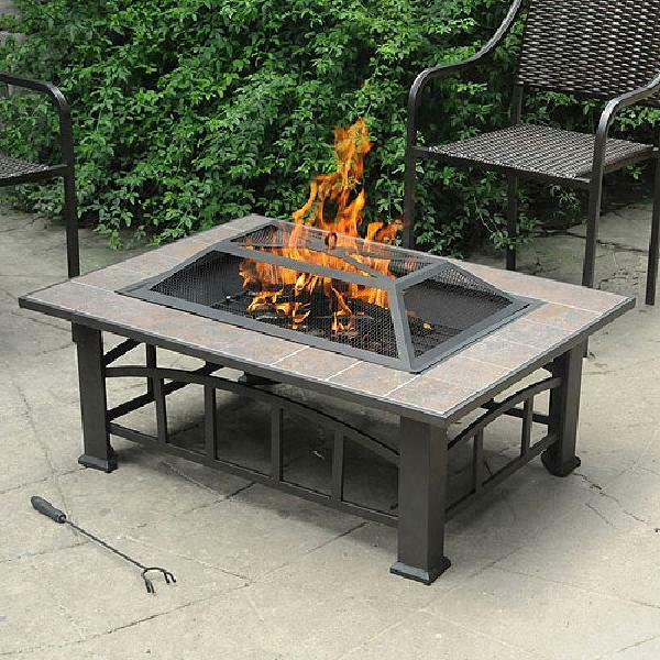 Rectangular Tile Table Top Outdoor Fire Pit Fireplace Backyard Deck Wood Burning