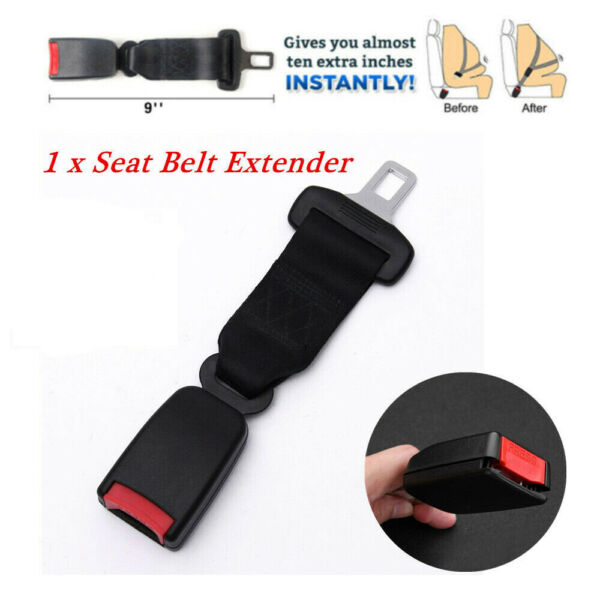 23cm Car Seat Seatbelt Safety Belt Extender Extension 21mm Buckle Black Receiver