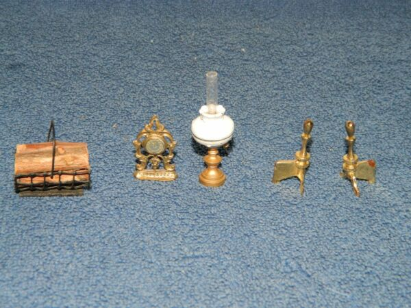 Lot of Vintage Dollhouse Miniatures Metal Oil Lamp Mantle Clock Andirons Wood