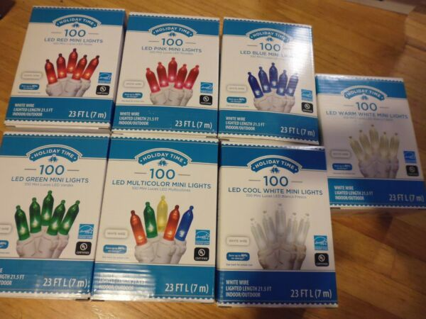 100 Counts LED Mini Lights White Wire 23FT L Red Pink Blue Green Blue Warm White