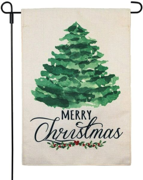 13x18 Inch Welcom Christmas Tree Garden Burlap Flags Home Yard Xmas Double Sided