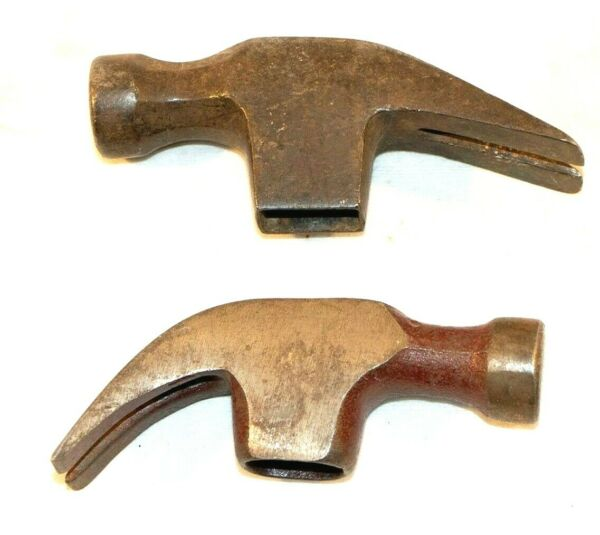 Antique Claw Hammer Heads Only Lot of 2 Tool Parts