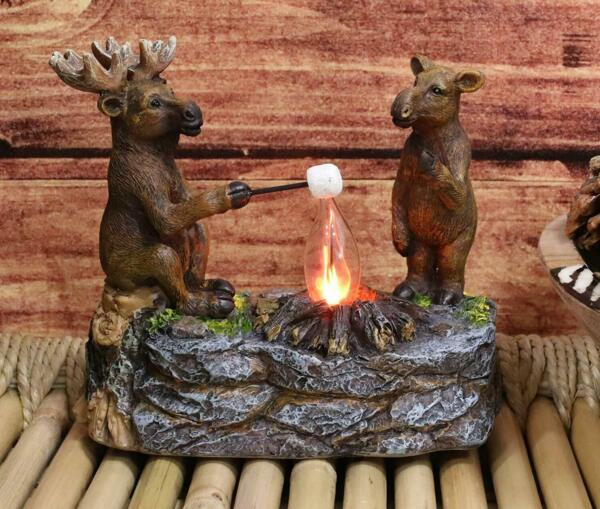 Rustic Forest Elk Moose Family Making Smores By Bonfire Night Light Statue Decor