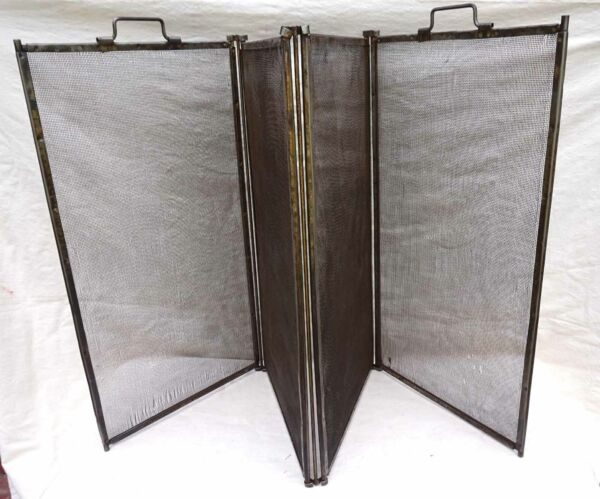 Antique French Large Folding Fireplace Fire Place Screen 4 Panels Iron 19th C