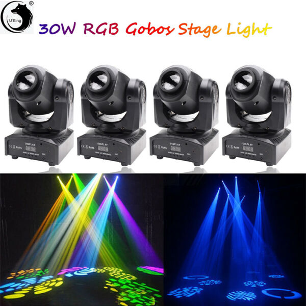 4PCS 30W RGBW LED Moving Head Stage Light DMX Gobo Show Bar DJ Party Lighting