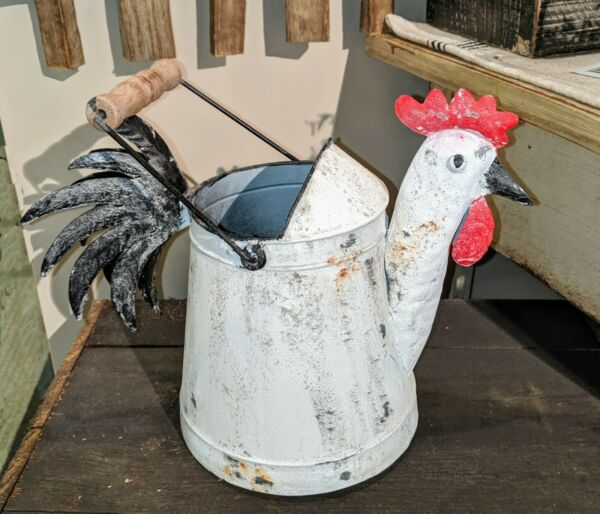 Rustic Farmhouse Country Kitchen Metal ROOSTER Watering Can~Pail~Bucket~Decor