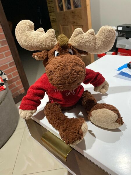 plush TOMMY 14quot; MOOSE with Clothes from MOOSEINTL international ADORABLE $12.00