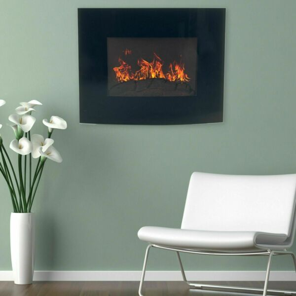 Black Curved Glass Electric Fireplace Wall Mount amp; Remote 25 x 20 Inch 1500W