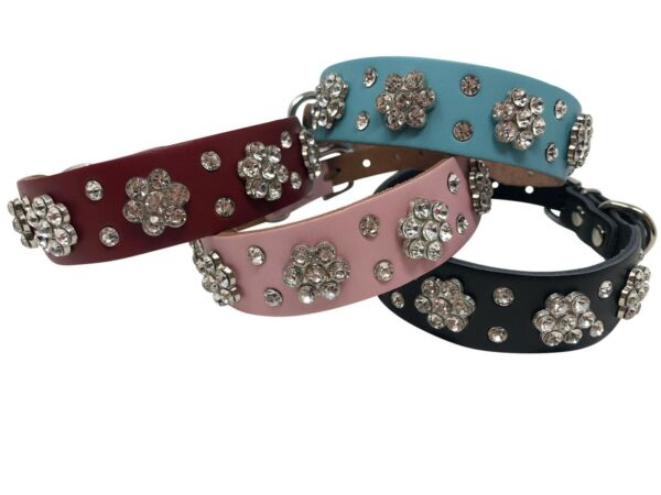 Dog Leather Rhinestone Flower Bling Collar 1quot; wide Blue Black Red Pink S M $12.99