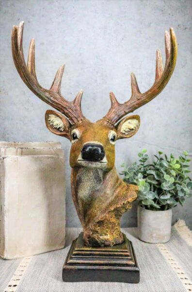 Large Rustic Forest Woodland 10 Point Stag Buck Deer Bust With Base Statue Decor