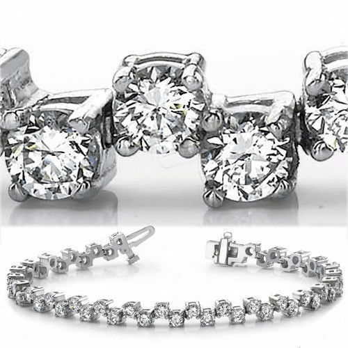7.28 ct Round cut Diamond Tennis Bracelet 18k White Gold 56 x 0.13 ct each