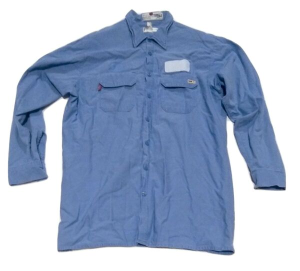 Used Reed FR Flame Resistant Long Sleeve Shirts Light Blue High Quality $17.99
