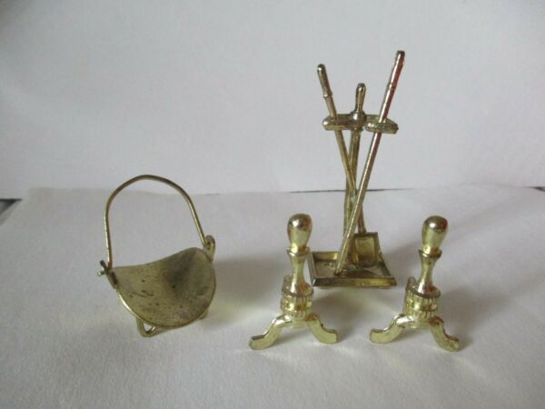 Dollhouse Miniature Fireplace Tool Set 6 Stand Poker Shovel Andirons wood holder