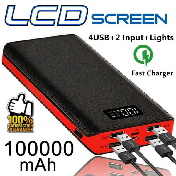 100000mAh Portable Power Bank External Backup Battery Pack 4USB Charger 2020 New