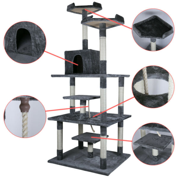 77.5quot; Cat Tree Condo Furniture Scratch Post Pet Play House Home Gym Tower Beige $73.99