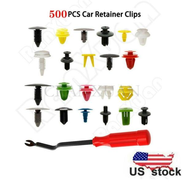 500Pcs Plastic Car Body Push Pin Rivet Fasteners Trim Moulding Clip Screwdriver
