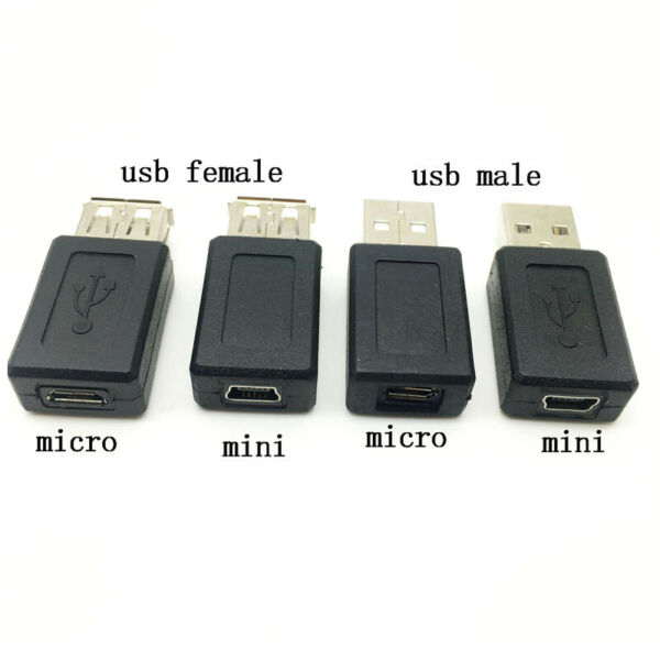 USB 2.0 Type A to Mini 5Pin B Converter Micro USB Female Male Connector Adapter
