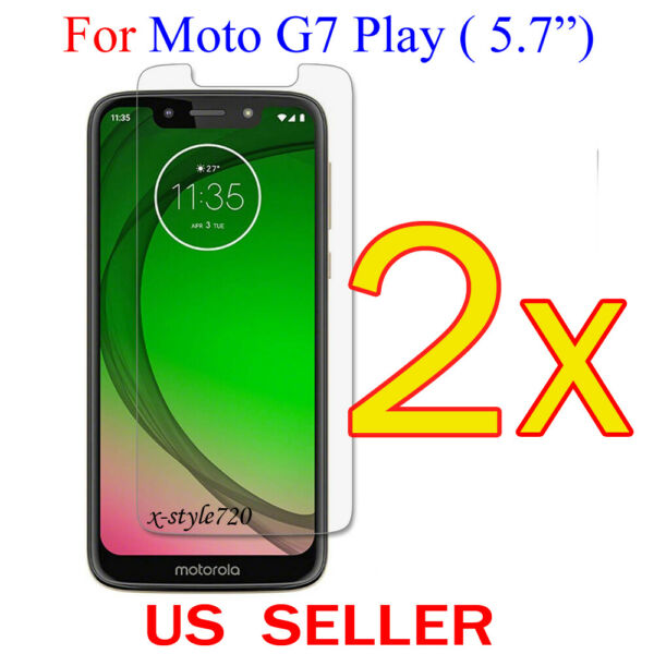 2x Clear LCD Screen Protector Guard Cover Film For Motorola Moto G7 Play (5.7