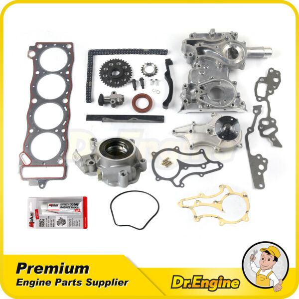 Timing Chain Cover Kit Oil Water Pump Gasket Fit 85-95 Toyota Pickup 4Runner 2.4