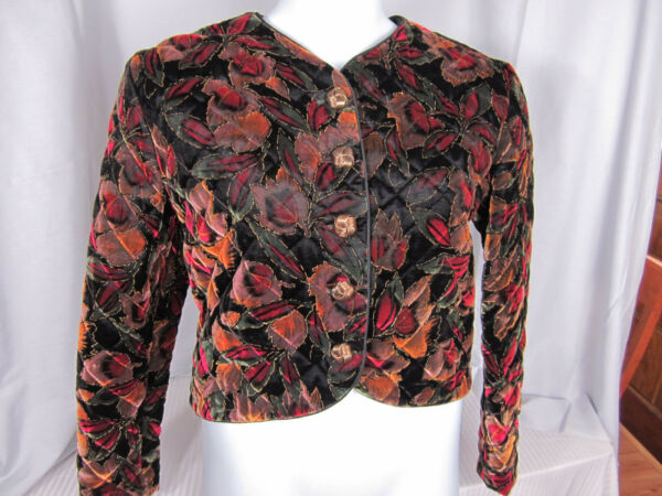 Gregg Adams Holiday Jacket Velvet Medium Gold Embroidery Red Black Button Front