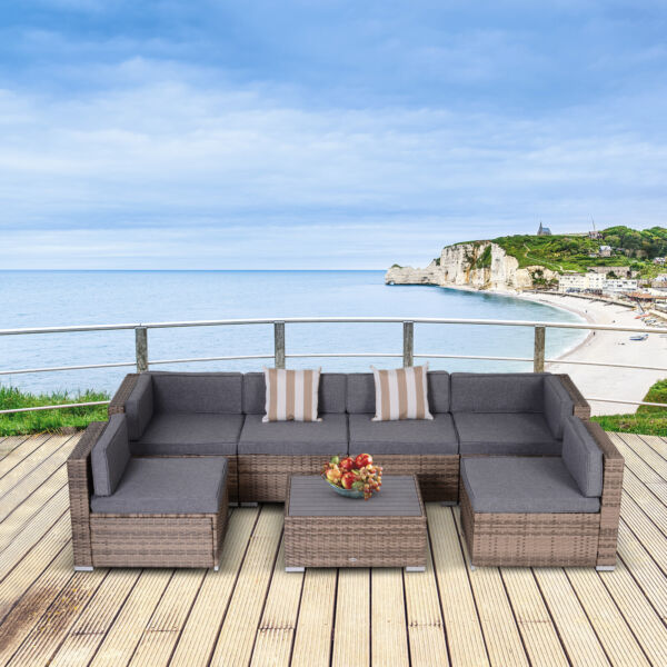 Outsunny 7 Piece Patio Furniture Set w 6 Seats 2 Corners amp; Center Table Grey $689.99