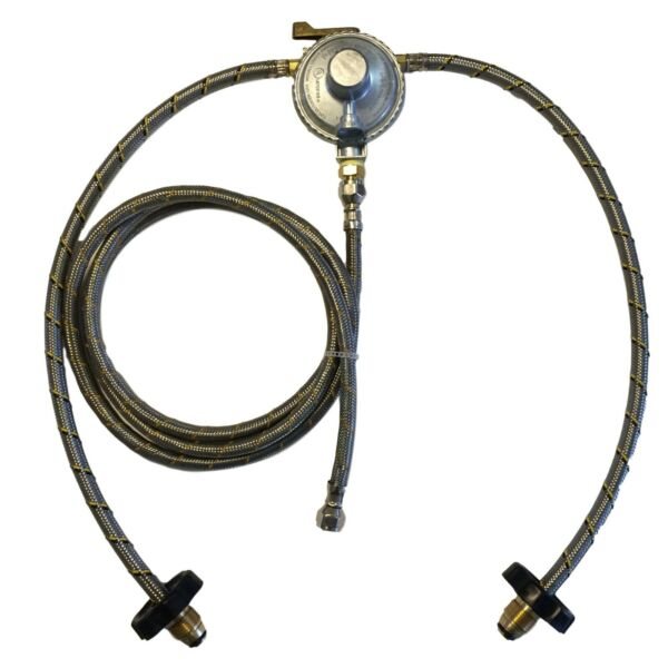 Propane Gas LP Regulator Dual Two Tanks Pigtail Hose 2ft Manual Changeover