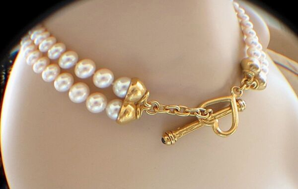 Akoya Pearls 8mm Classic18k Hearth Gorgeous ONE OF KIND Necklace Pristine LN
