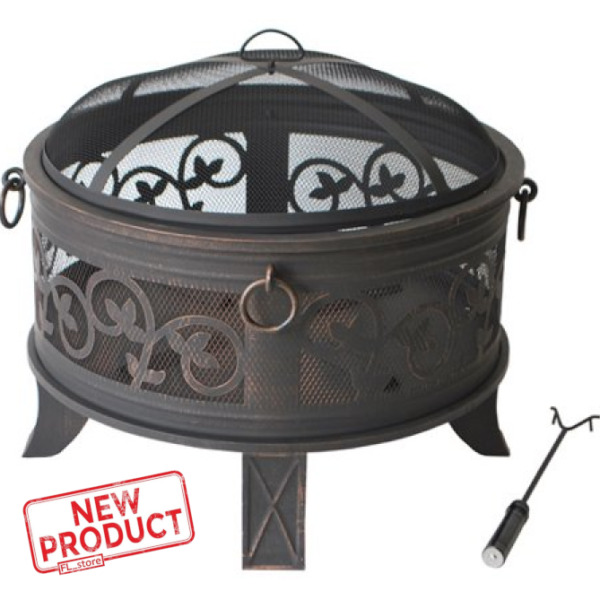 26 Inch Round Metal Fire Pit Fireplace Mesh Cover Outdoor Patio Wood Burning NEW