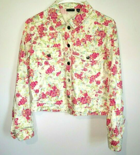 WILLI SMITH JEAN STYLE JACKET WOMENS SIZE SMALL PINK FLORAL BUTTON FRONT UNLINED