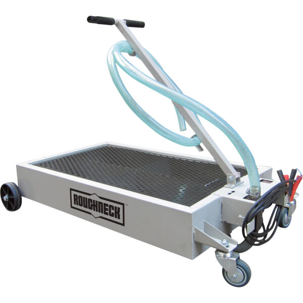 Roughneck Low Profile Oil Drain Dolly with Pump-15-Gal. Capacity 12V