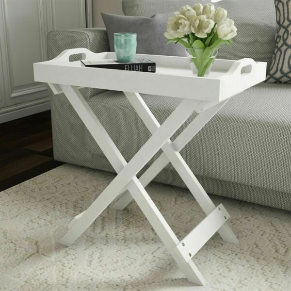White Wooden Folding Table TV Tray Removable Top End Table Entryway Home Decor $40.99