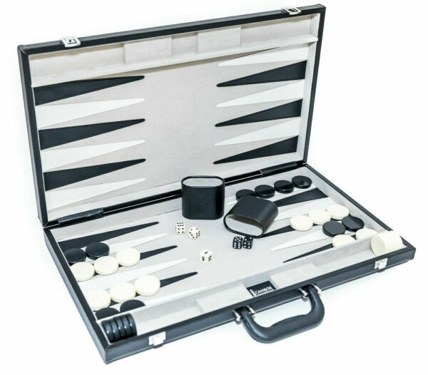 Bakgammon Set The Tournament Size Leatherette Case With Luggage Handle