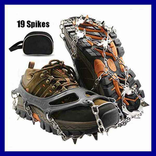 Traction Cleats Ice SNOW Grips Crampons 19 Spikes Anti Slip Stainless Steel Micr