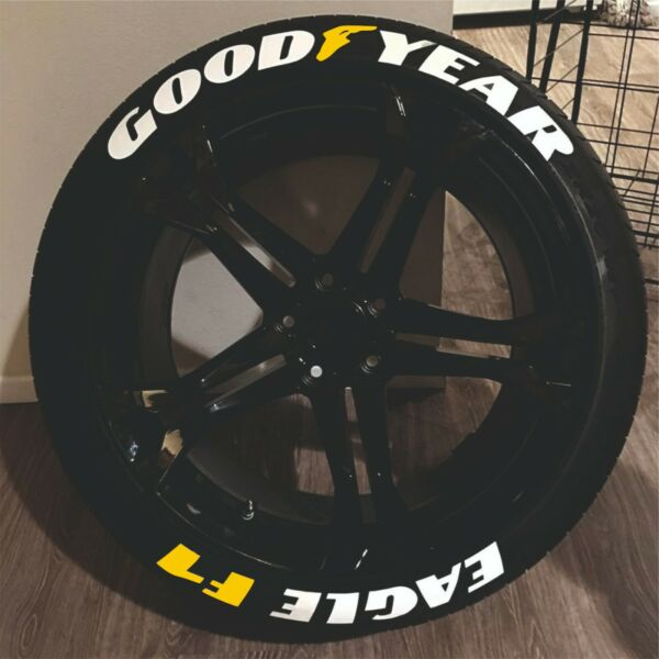 Tire Lettering GOOD YEAR EAGLE F1 YELLOW permanent Stickers 14