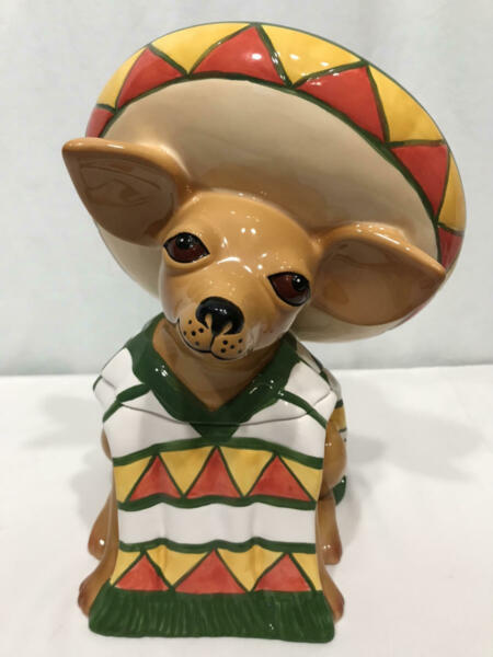 Vtg Cookie Jar CLAY ART IAY CHIHUAHUA Mexican Dog Taco Bell ? 1999 Sombrero $68.97
